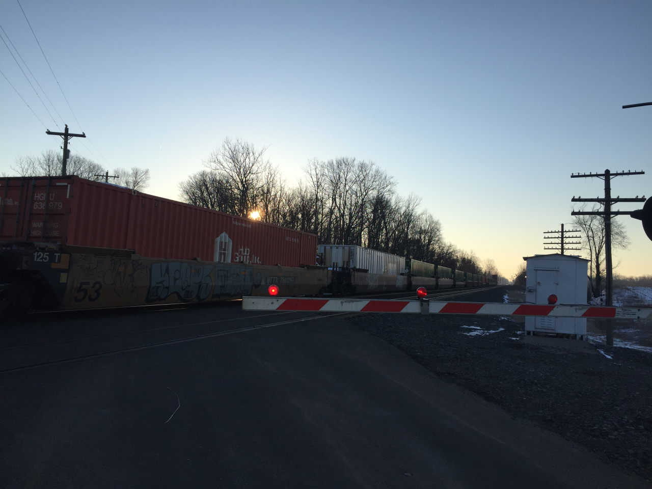 Freight cars and crossing, Indiana