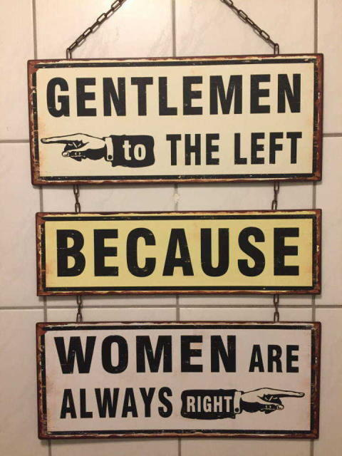 Gentlemen to the left because women are always right