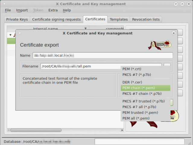 Export signed certificate including complete certificate chain