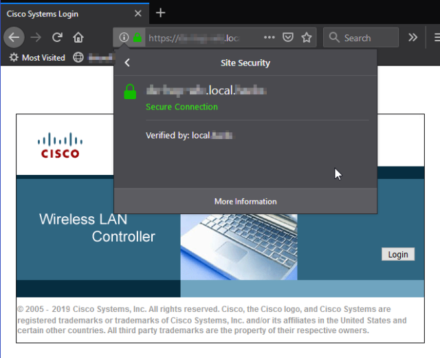 Wireless Controller Verify certificate in web browser