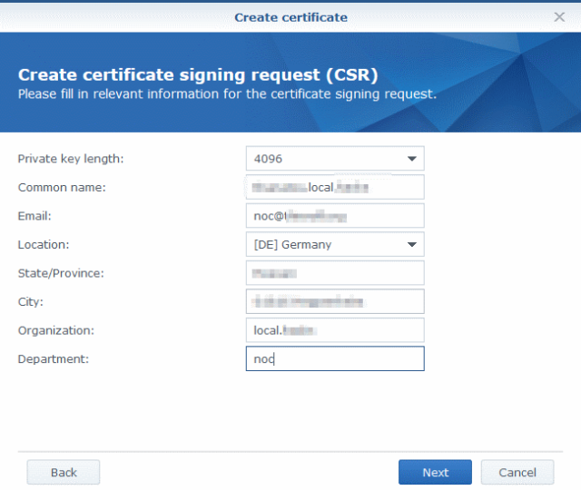 Synology Certificate sign request