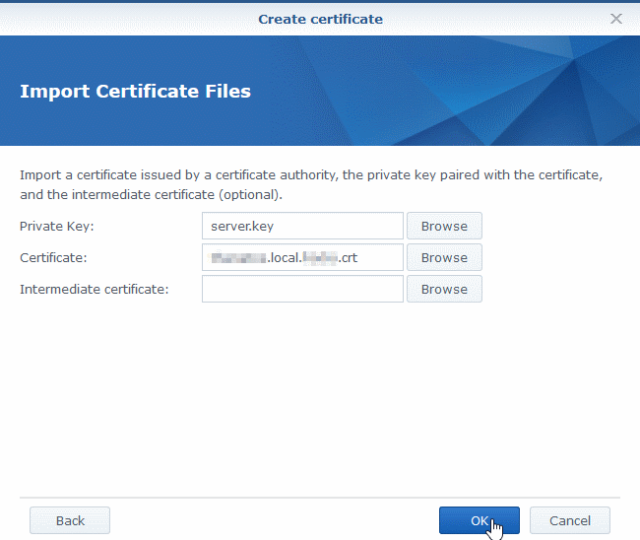 Synology Import signed certificate