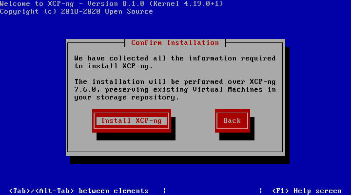 XCP-NG: Installation over 7.6