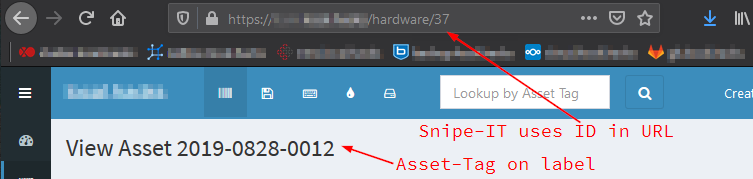 Snipe-IT: Asset tag with ID in URL