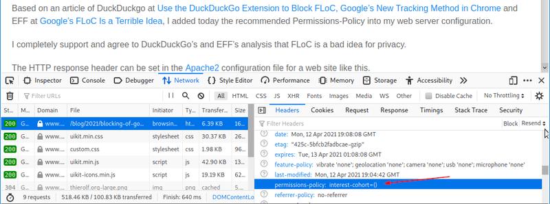 Web server header sent to block FLoC