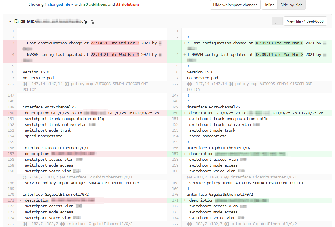 Screenshot: Changes in configuration file