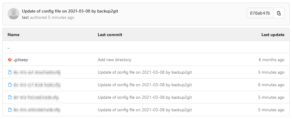 Screenshot: Configuration files in Gitlab project