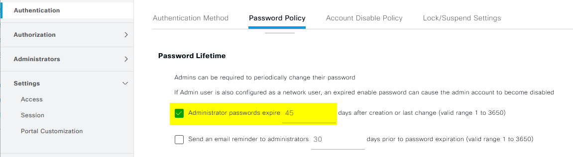 Cisco ISE 3.0: Password policy / password lifecycle settings