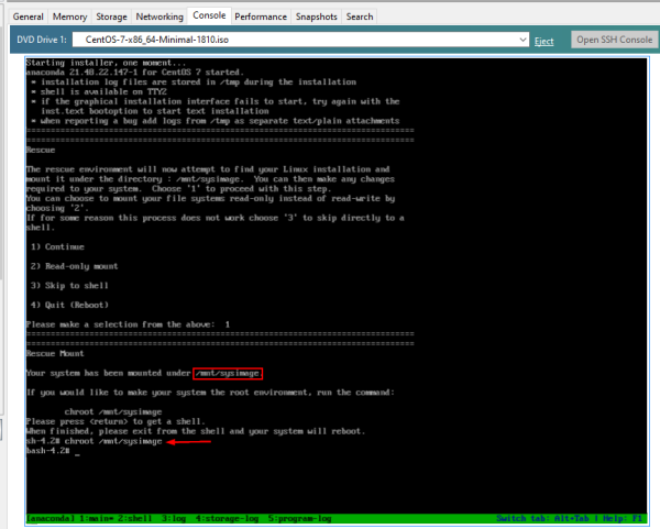 Cisco SSM On-Prem: Boot CentOS 7, mount and chroot /mnt/sysimage