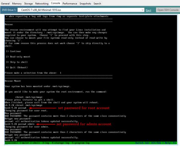 Cisco SSM On-Prem: Boot CentOS 7, passwd root and passwd admin account