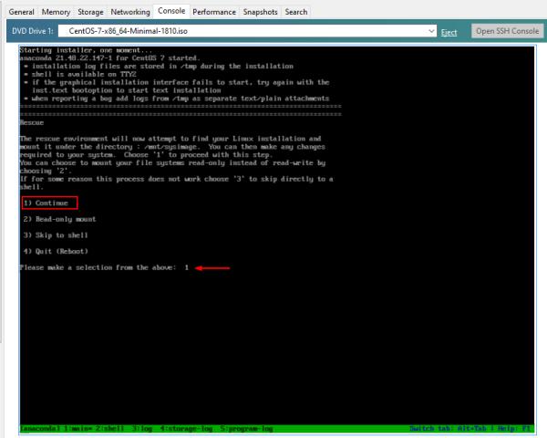 Cisco SSM On-Prem: Boot CentOS 7, select (1) Continue