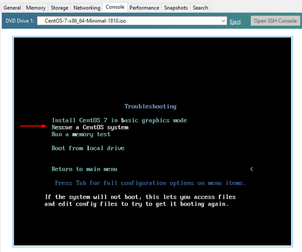 Cisco SSM On-Prem: Boot CentOS 7, select Rescue a CentOS System