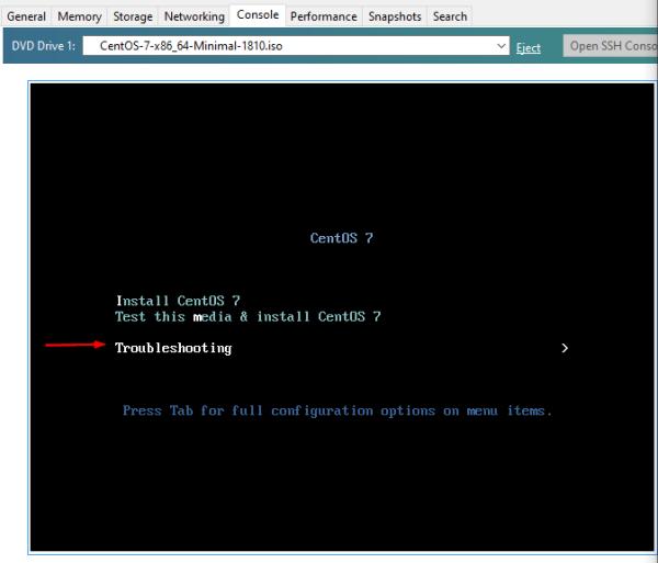 Cisco SSM On-Prem: Boot CentOS 7, select Troubleshooting