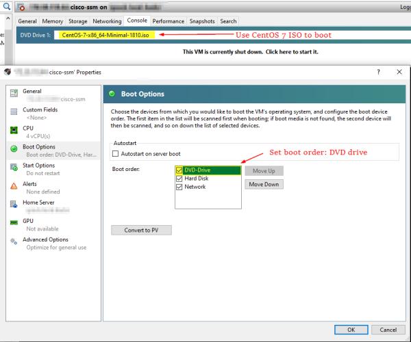 Cisco SSM On-Prem: Boot options for CentOS 7