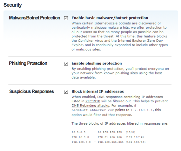 OpenDNS: Security filtering