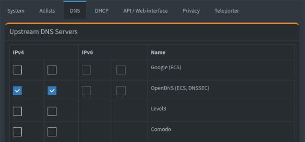 Pi-hole: Select Upstream DNS