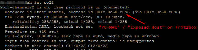 "MAC of Po interface of switch as ""exposed host"" seen by Fritzbox"