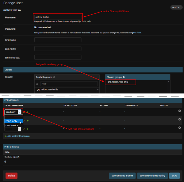 Netbox: Assign AD/LDAP user to Netox-internal group