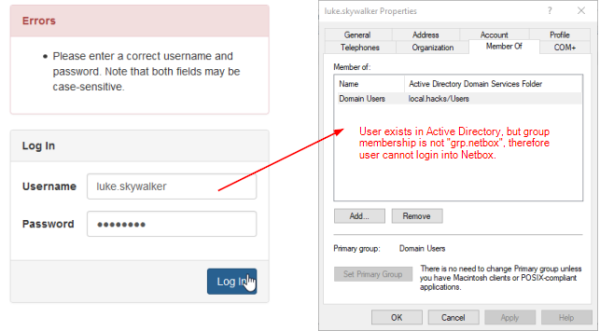Netbox: Verify Login with User account not in group grp.netbox